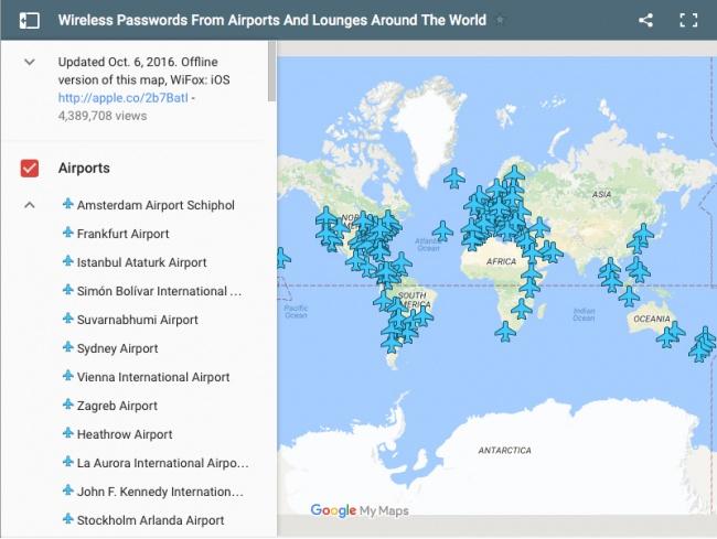 Очень полезная карта с паролями Wi-Fi любого аэропорта мира