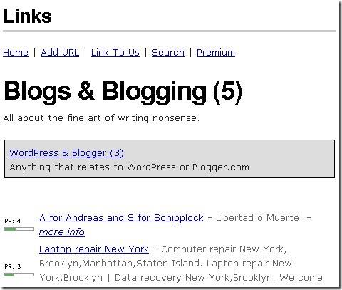 Страницы категорий содержат информацию о pagerank, ссылку и описание:
