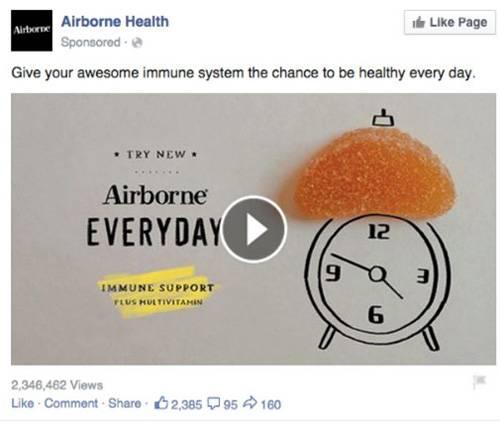 10. Простой и понятный текст и ставка на видеоформат в рекламе Airborne Health