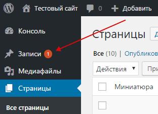 Подсказки (счетчики) в меню админ-панели