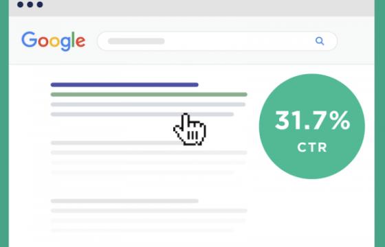 CTR для первой позиции в выдаче Google составляет 31,73%