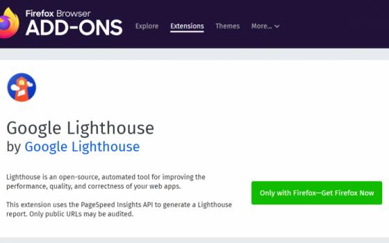 Google выпустил расширение Lighthouse для Firefox