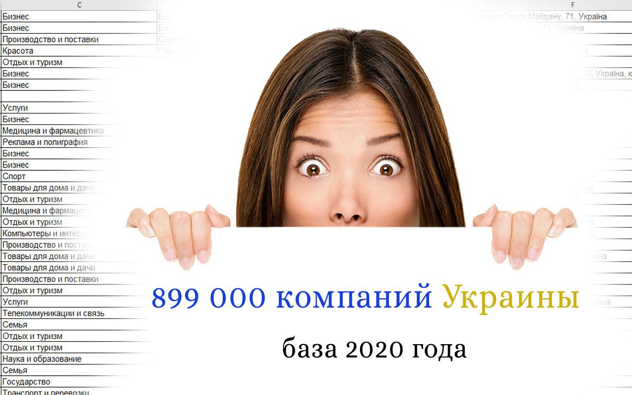 Каталог компаний Украины 2020 года! База 899 490 компаний