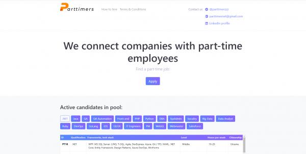 Стартап дня: сервис для найма парттайм-сотрудников Part-timers